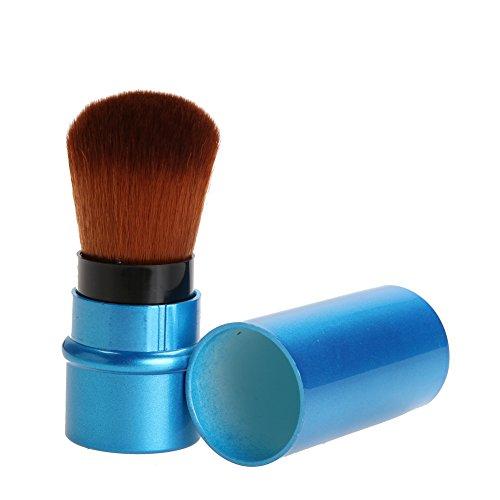 Fond de teint Brosse Maquillage étui Portable 1pièce rétractable Blush Maquillage Brosse rétractable Pro Fond de teint Cosmétique Fard à joues Poudre Visage Pinceaux outils beauté – Pinceaux de maquillage (Bleu)