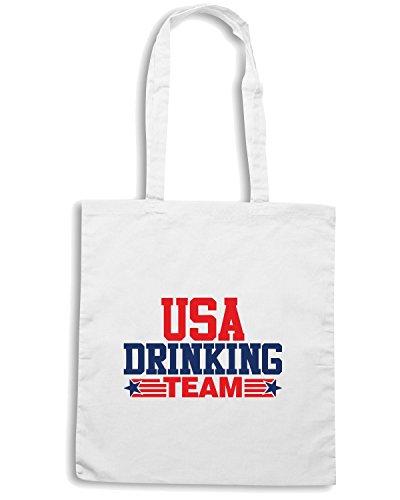 T-Shirtshock - Borsa Shopping BEER0122 USA Drinking Team Bianco