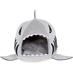 Shinmax Tiburón Gris Cama Casa -Linda Cama Gris del Perrito por la Cueva Perro Pequeño Gato Cojín Extraíble, para Mascotas Plegable Cubierta Cama Refugio Casa (pequeña)