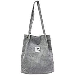 Las Mujeres Pana totalizador de la Lona Casual de Las señoras de Hombro Bolsa Reutilizable Plegable Cesta de la Compra Bolsa de Playa Femenino Bolso de Tela de algodón (Gris)