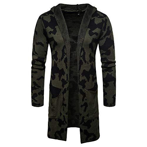 CICIYONER Männer Outwear Bluse, Herren Mit Kapuze Solide Stricken Tarnung Mantel Jacke Strickjacke Lange Ärmel Oberteile Bluse
