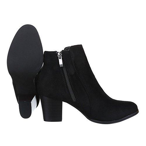 Damen Schuhe, F82, STIEFELETTEN BOOTS Schwarz