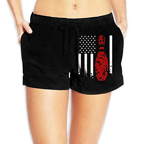 Hmihilu Bowling Flag Womens Lightweight Board/Beach Shorts Sports Runnning Bathing Suit with Pockets Large - Sleeve Flag Shirt