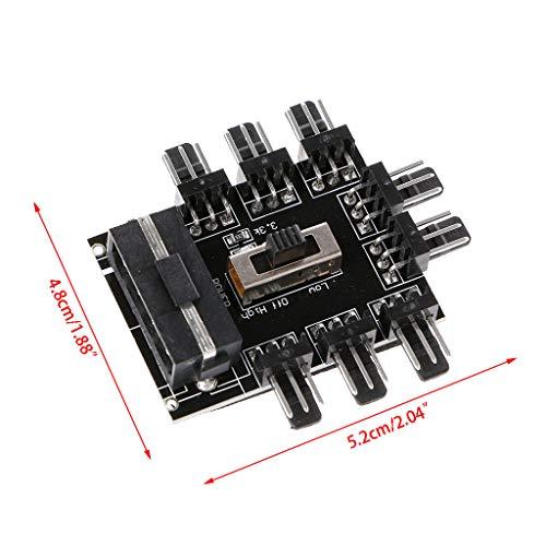 showkingL PC IDE Molex 1 Bis 8-Wege-Splitter Lüfter Hub 3-Pin 12V Steckdose PCB Adapter -