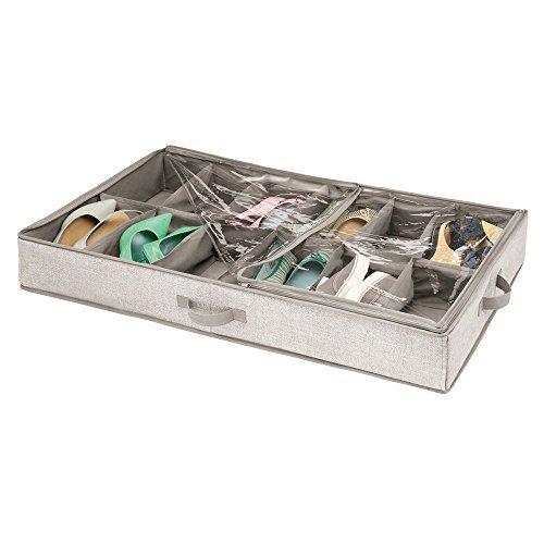Mdesign contenitore sottoletto con 12 vani – contenitori sottoletto con cerniera per scarpe, sandali, ciabatte – cassettone sottoletto – beige