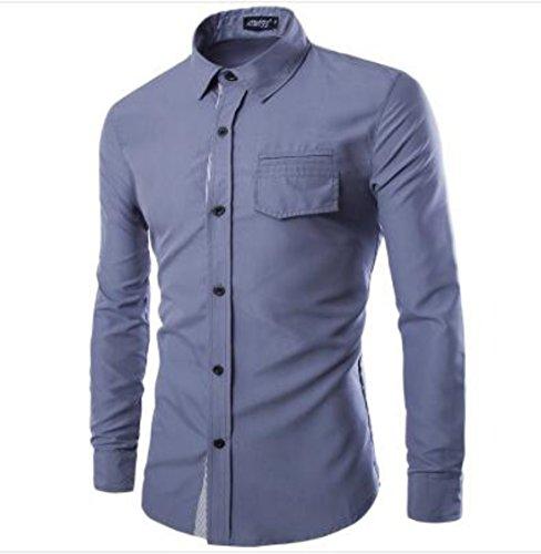 Men's High Quality Long Sleeve Mandarin Collar Slim Fit Casual Shirts Grey