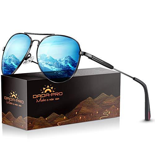 DADA-PRO Sonnenbrille Herren Pilotenbrille Damen Polarisiert Verspiegelt Retro Fahren Fahrerbrille UV400 Schutz für Autofahren Reisen Golf Party und Freizeit (A - Blau)