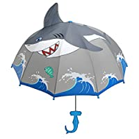 Kidorable Shark Grey Umbrella for Boys w/Fun Hammerhead Handle, Pop-Up Fin, Ocean Trim, Kid Sized