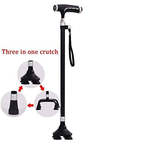 jiyy Krücken Rutschfester Teleskop-T-Griff 3 Fuß Gehstock Aus Aluminium Mit Lampe Für ältere Menschen Braun,Brown -