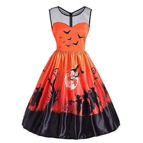 Biback Vintage Dresses, Women Hepburn Style Mesh Gauze Mosaic Halloween Print Dress