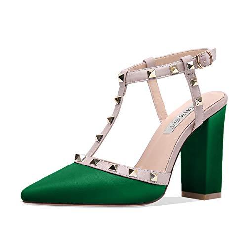 0c2f6fe8ee4 Chunky Heels for Womens Studded Strappy Buckle Block Heel Sandals Open Toe  Slide Studs Dress Pumps Sandals Green Matte Size 11UK 44EU
