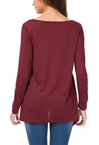 Urban GoCo Femmes Tee-Shirt Manche Longue Chemisier Tunique Top Ourlet Irrégulier avec Poches Rouge-marron