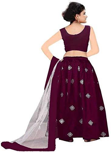 Clothesshop Girl's Banglori Satin Simple Embroidered Semi-stitched Lehenga Choli (CS_Silver_Butti, Wine, 7-8 Years)