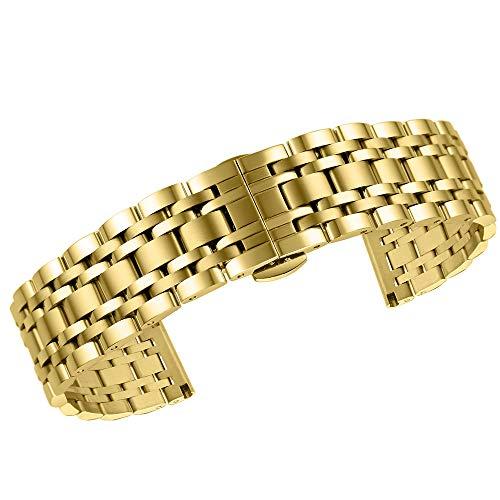 High-End-Band Premium Festen Riemen Armband aus Metall Uhr Stahl Uhr für Männer Frauen Gold 15mm