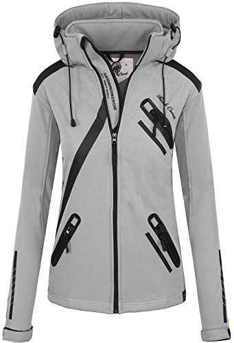 Rock Creek Damen Softshell Jacke Übergangs Jacke Windbreaker Regenjacke Damenjacken Outdoorjacke Windjacke D-371 Hellgrau M