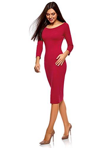 oodji Ultra Damen Enges Kleid mit U-Boot-Ausschnitt Rot (4901N)