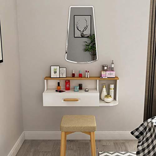 Toletta di preparazione di legno solido tabella di preparazione a parete con il cassetto mensola di parete cosmetica di immagazzinaggio dei monili del cassetto mensola di galleggiamento
