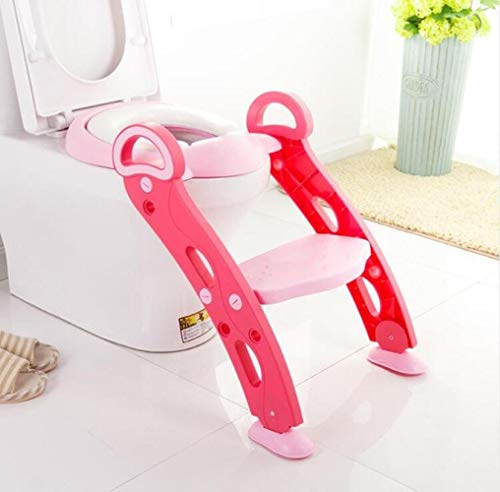 Llxxx Kinder toilettensitz-Kind verstellbare Leiter Klapptoilette Toilette, C