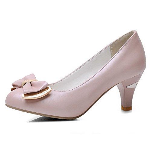 AllhqFashion Femme Matière Souple Tire Rond à Talon Correct Mosaïque Chaussures Légeres Rose