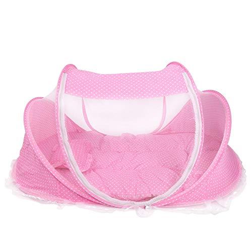Tragbares faltbares Baby Moskito Reisenetz Anti Wanzen Krippen Wiegen Zelt mit Matratzenkissen für Baby Kind(Rosa)