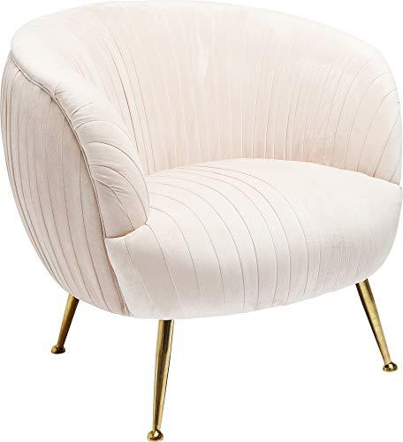 Kare Sessel Perugia, cremefarbener SAMT-Lehnstuhl im 20er Jahre Stil, extravaganter Polsterstuhl mit einzigartiger Faltentechnik und goldfarbigem Sockel, beiger Polstersessel, (H/B/T) 80 x 35 x 45 cm