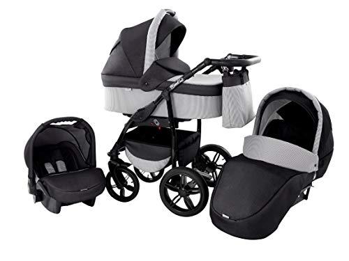 Kinderwagen Babywagen Kombikinderwagen Baby Merc Q9 3 in 1 Komplettset mit Zubehör 0-3 Jahre 0-15 kg Insektenschutz Netz Einkaufstasche Regenschutz Getränkehalter Buggy Autositz (49)
