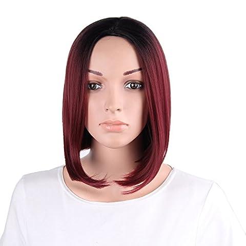 Fouriding Perruque Femme Court Bob Fonce Resistant a La Chaleur Synthetique Ombre Noir a rouge Cheveux Perruques