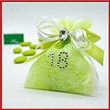 Sacchetto portaconfetti per confettate in tulle verde rivestito da uno strato di TNT bianco decorato con fiocco e cuoricino, numero 18 in strass, incluso di confetti - Bomboniere compleanno, diciotti anni,confettate(12 pz. con confetti rossi)