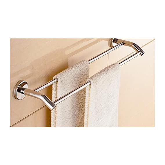 INDISWAN 304 Stainless Steel Double Rod Bathroom Towel Holder Chrome Finish (24 inch)