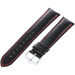 Hirsch Jumper black and red Calfskin Watch Strap long length, 20mm, Stainless Steel Buckle