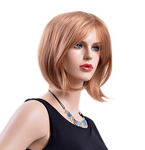 A.Monamour Frauen Shaggy Lose Haare Goldene Blondine Kurze Gerade Bob Casual Haarschnitt Synthetische Volle Perücke