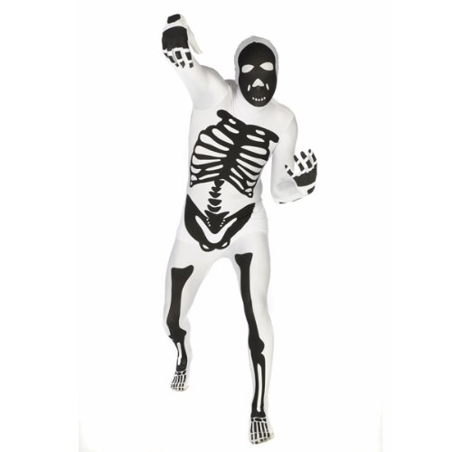 Original Lizenz Morphsuit Halloweenkostüm Kostüm Skelett weiß Ganzkörperanzug Anzug Ganzkörper Horror Gr. XL