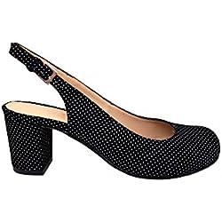 GENNIA Jarasling Negro Lunares Blancos - Salones para Mujer de Piel Ante y con Tacón Ancho de 5 cm, Talla 37