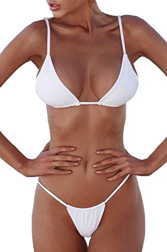 Fanvans Damen Sexy Bikini - Set Dreieck Brasilianischen Bikinis Badeanzug Weiß XS