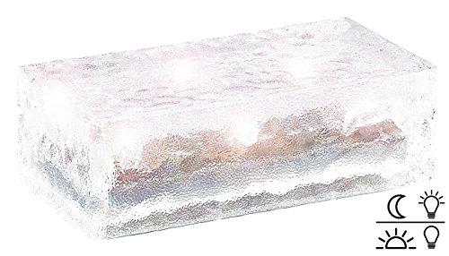 Lunartec Solarglasbaustein: Solar-Glasbaustein mit LED & Lichtsensor, 19,5 x 9,8 x 6 cm (Solar Pflasterstein)
