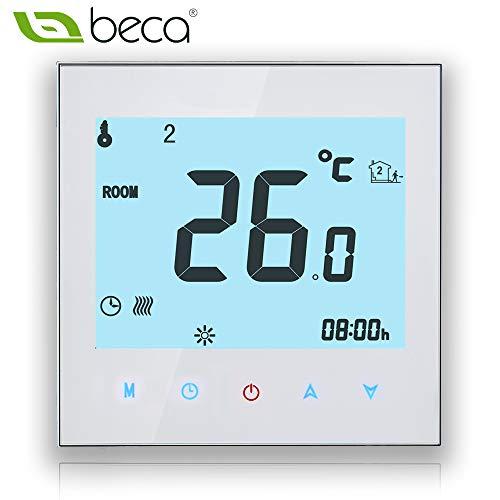 Thermostat Kesselsteuerung, BECA Schalter LCD Touchscreen 3A Wasser / Gas Kessel Heizung Programmierbarer Raum Thermostat Heizung (3A für Kessel Heizung, weiß) -