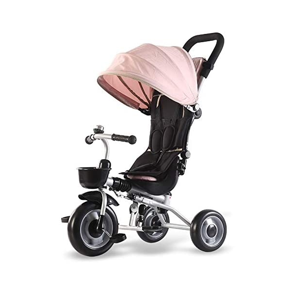 BGHKFF Childrens Folding Tricycle 6 Months To 6 Years Light And Sturdy Kids Tricycle Detachable And Adjustable Push Handle 3-Point Safety Belt Child Trike Maximum Weight 50 Kg,Pink BGHKFF ★ 4-in-1 multi-function: convertible into stroller and tricycle. Remove the backrest and awning as a tricycle. ★Material: Carbon steel + environmentally friendly plastic, suitable for children from 6 months to 6 years old, maximum weight: 50 kg ★ Tricycle foldable, space saving, easy to carry, is the best travel companion, 3-point seat belt, front wheel clutch, rear wheel brake 8
