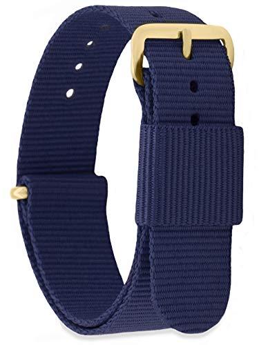 MOMENTO Correa de Reloj de Nato Nailon para Mujer y Hombre con Hebilla de Acero Inoxidable en Dorada Amarilla con Tela Azul Oscura en 20mm