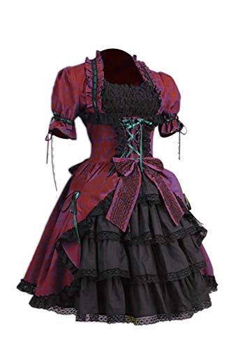 Belle Southern Kostüm Eine - Vintage Renaissance Gothic Lolita Southern Belle Kleid Coaplay Kostüm Kurzarm Damen