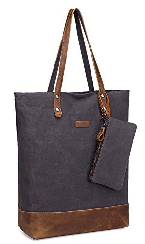 Leinwand Tote Handtasche Tasche (VASCHY Shopper Tasche Groß, Leder Leinwand Handtasche Damen mit Gepolsterten 15.6 Zoll Laptop Hülle Damentasche Vintgae Einkaufstasche für Frauen Arbeitstasche(Grau))