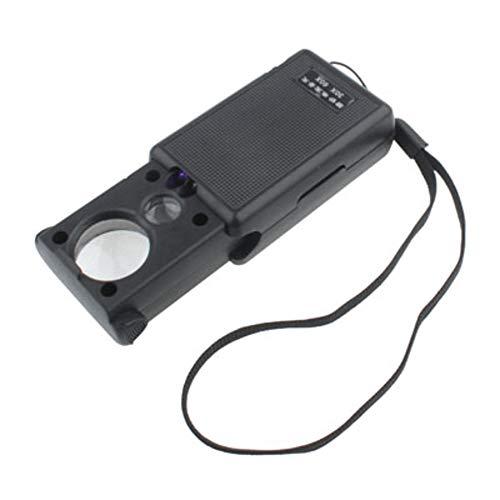 Lupe Eye Lens - Beleuchtete Dual-Lupe 30x - 21mm und 60 x - 12mm mit LED-Licht - Ideal Juweliere Lupe oder Mikroskop Währung Detektor Tasche mit Lampe - Stop-lampe Linse