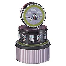 Premier Housewares Happy Owls Boîtes de rangement - Petite Boîte Ronde de Stockage - Boîte de conservation -Lot de 3