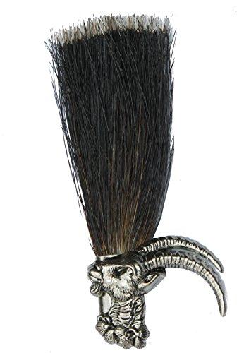 Hutanstecker | Hutabzeichen | Hutschmuck | Anstecker – Steinbock mit Gamsbart-Imitat – 8,5 cm