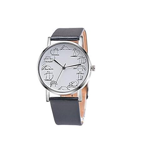 Coolster Damen & Unisex Stick Figur Cartoon Katze Lederband Armbanduhr Armband (Schwarz)