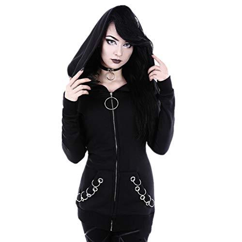 Mitlfuny Retro Rock Street Gothic Black Style Halloween Umhang Kostüme Vampir Kostüm Dracula, Frauen Lose Gothic Punk Langarm Kapuze Solid Black Cardigan Jacke Mantel