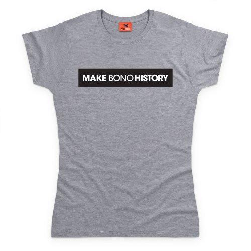 Make Bono History T-Shirt, Damen Grau Meliert