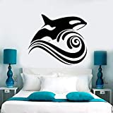 ljjljj Vinyl Wandtattoo Wal Welle Meer Ozean Stil Wandaufkleber Removable Home Badezimmer Dekor Meer Tier Kunstwand Decor 66x57 cm