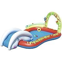 Bestway 53051 - Piscina hinchable para niños con tobogán (chorro de agua y raíl de bolas 279 x 173 x 102 cm)