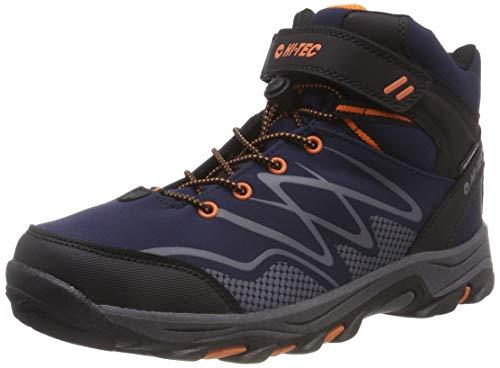 Hi-Tec Blackout Mid WP Jr, Stivali da Escursionismo Alti Unisex-Bambini, Blu (Navy/Orange 31), 38 EU