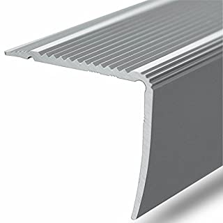 Alu Stufenkantenprofil Integral | L Form | selbstklebendes Treppen Profil | Breite 35 mm | eloxiert Silber | 100 cm